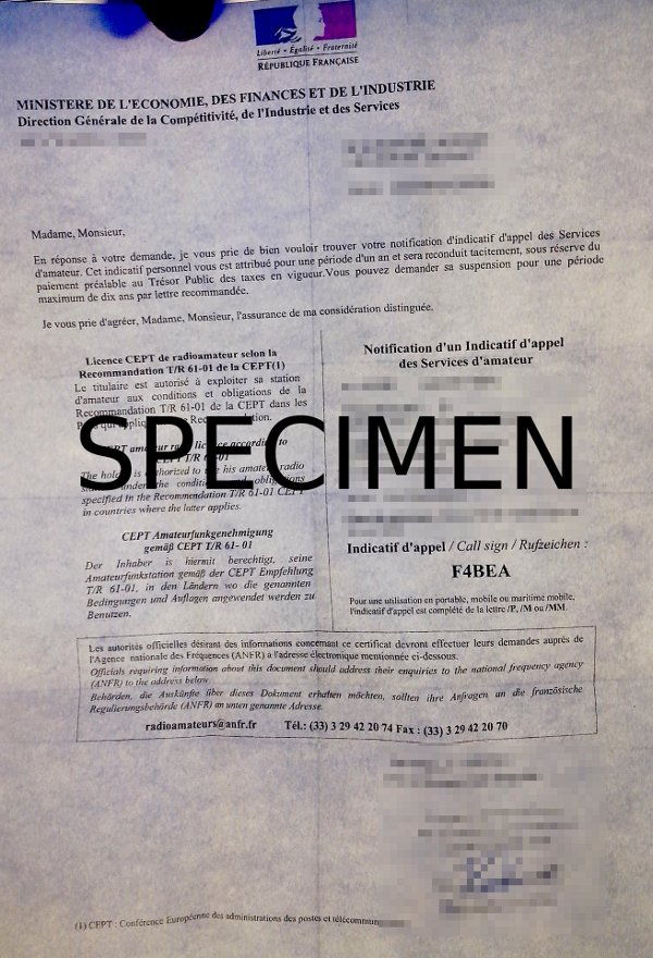 Spécimen de licence