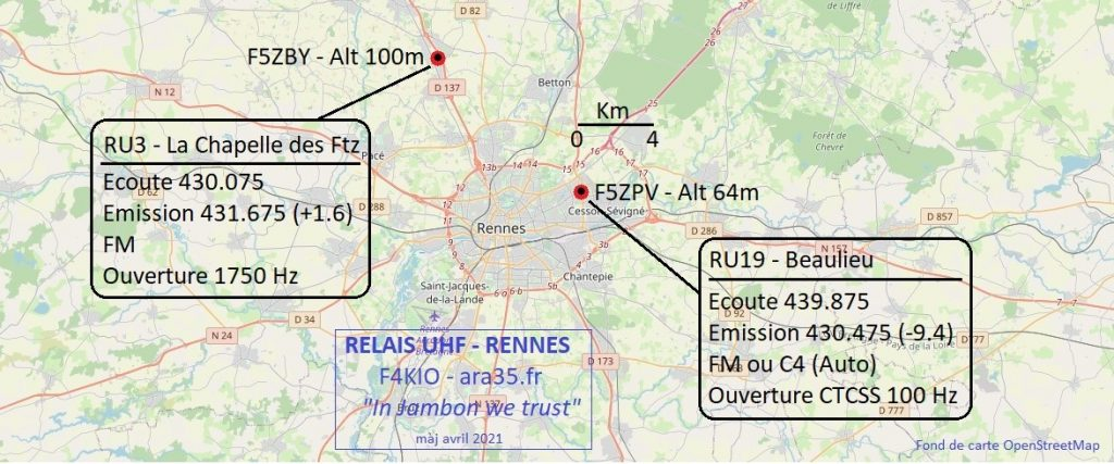 Carte des relais de Rennes